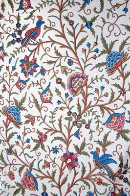 Best Of Kashmir Cotton Crewel Embroidered Upholstery Fabric Tree Life Birds Multicolor