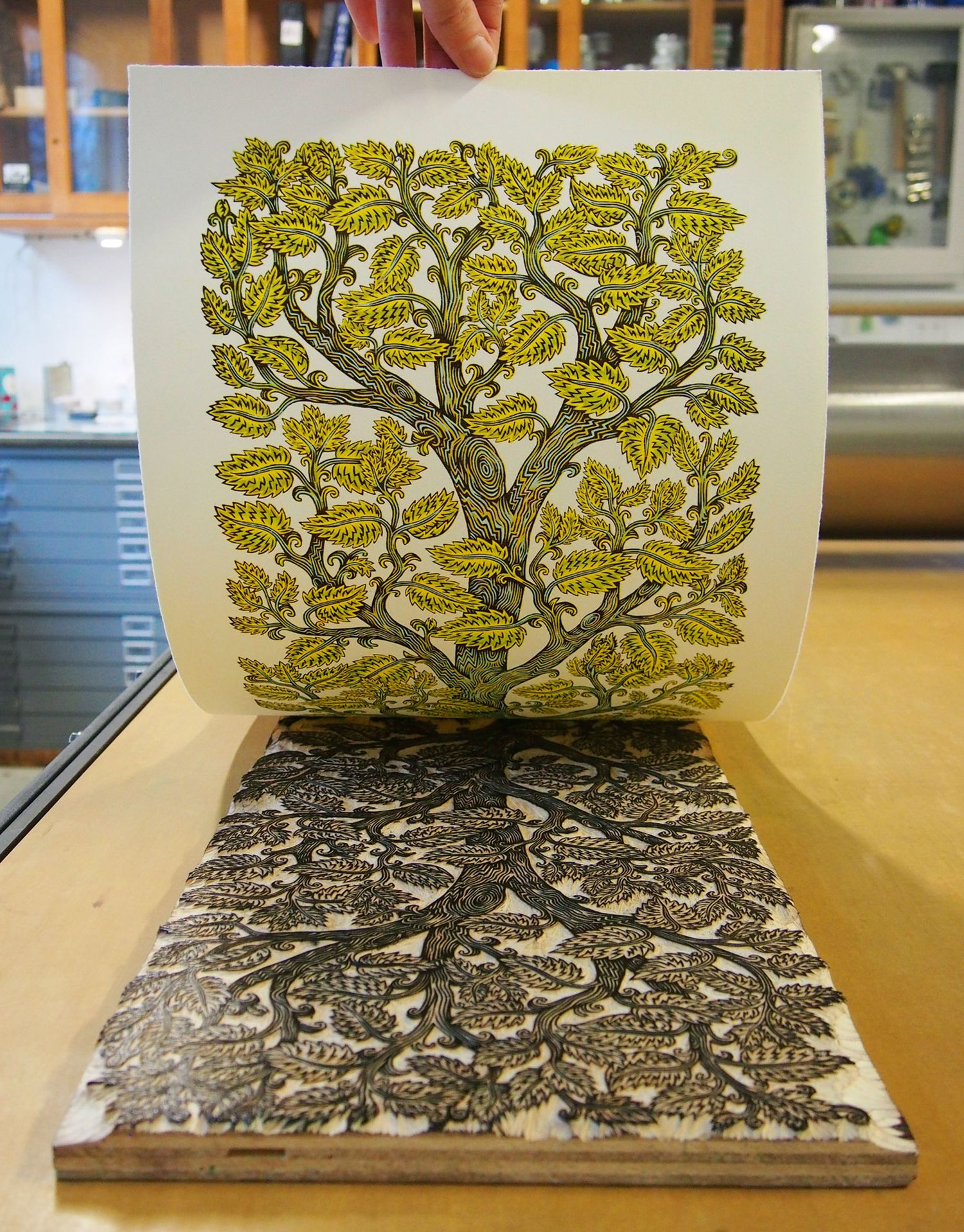 A Tall Leafy Tree Grows In Tugboat Printshops New 4 Color Wood Block Print
