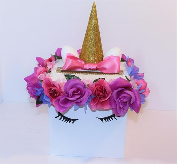 NEW! UNICORN Card box w/Silk Flowers, Custom Photo Prop, Sweet 16, Money Box, Card holder, Personalized, Money box, Gift Card, Baby Shower