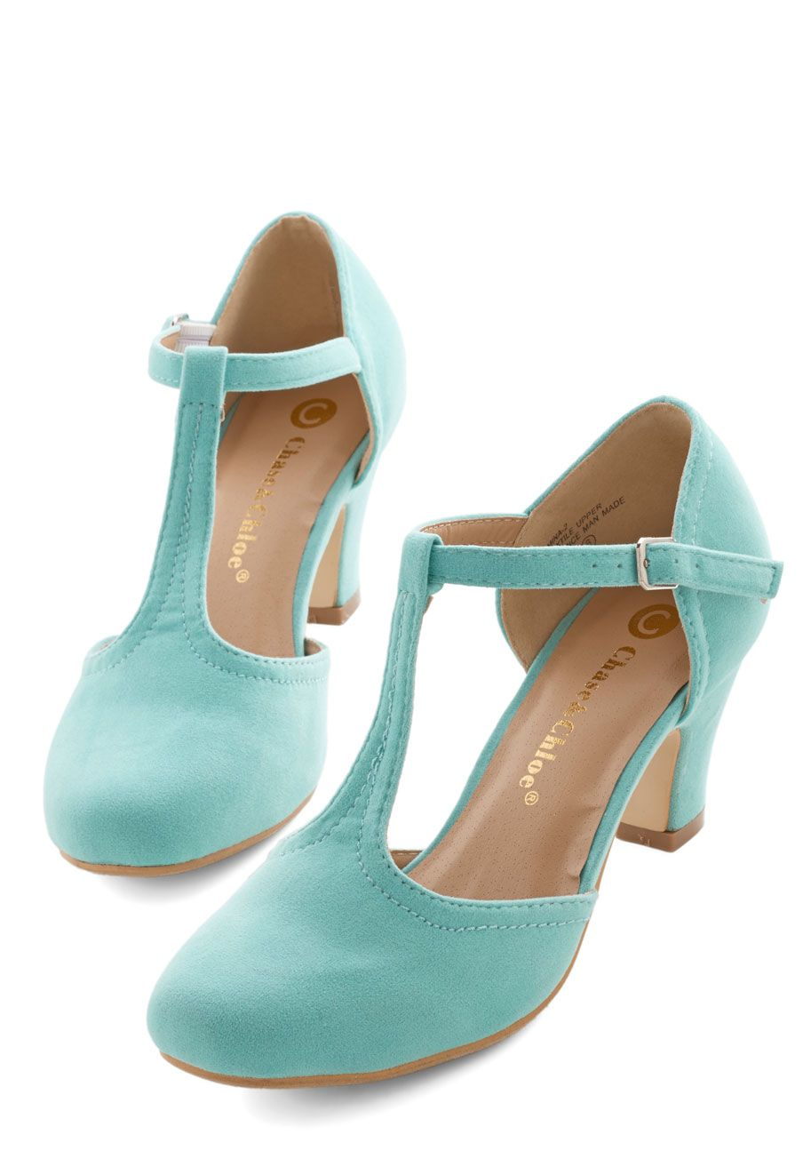 Hep in Your Step Heel in Aqua. You can't keep your feet from dancing after fastening the silver buckle of these aqua T-strap heels. #mint #prom #wedding #modcloth