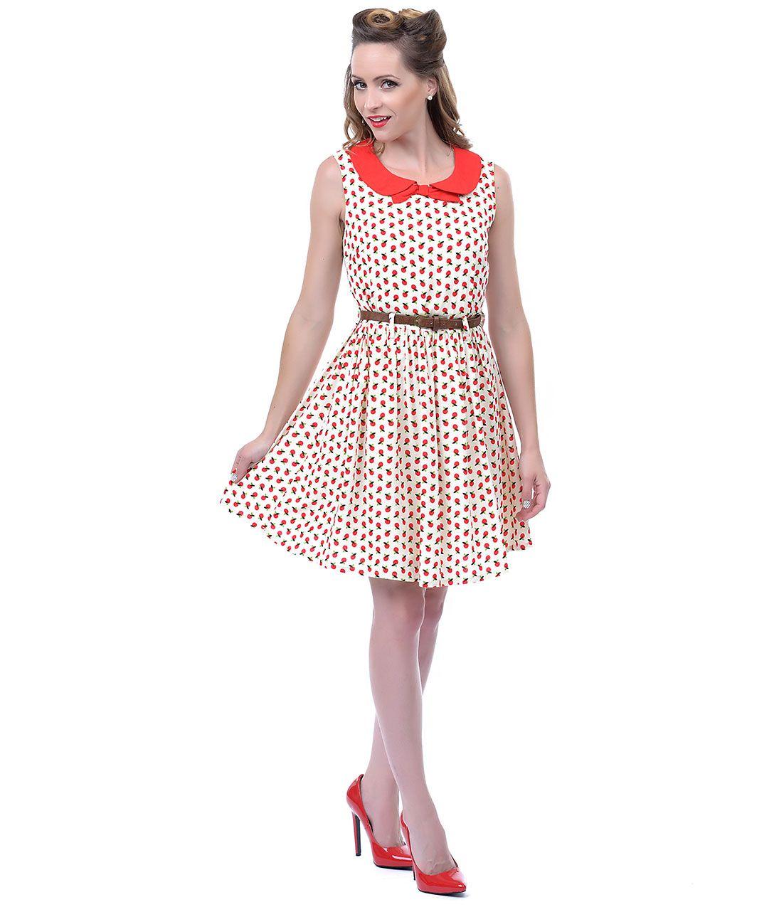 Sale cream apple picking dress unique vintage prom dresses