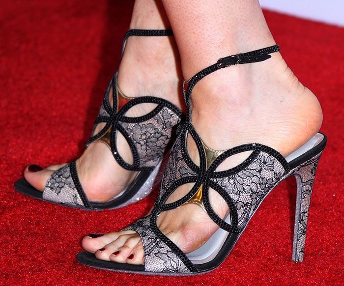 Bellamy Young Shows Off Her Feet In Rene Caovilla Sandals