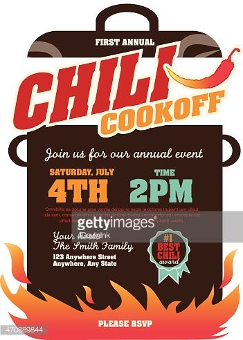 Vector Illustration Of A Chili Cookoff Invitation Design Template Chili Cook Off Chili Cookoff Invitations Chili Cook Off Invitations
