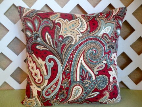 Paisley Pillow Cover In Burgundy Red Teal Blue Ivory
