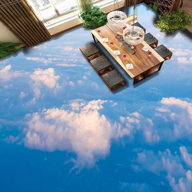 Cloud Sky 3d Epoxy Flooring For Dining Room