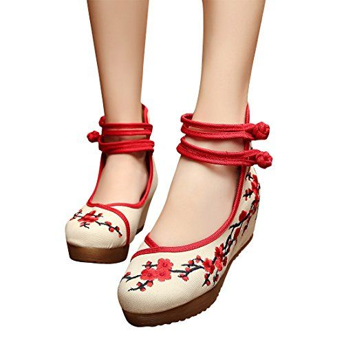 5 Cm Plum Fashion Casual Womens Singles Shoes Counter Genuine Soft Bottom Embroidered Ballet Shoes * You can find more details by visiting the image link.
