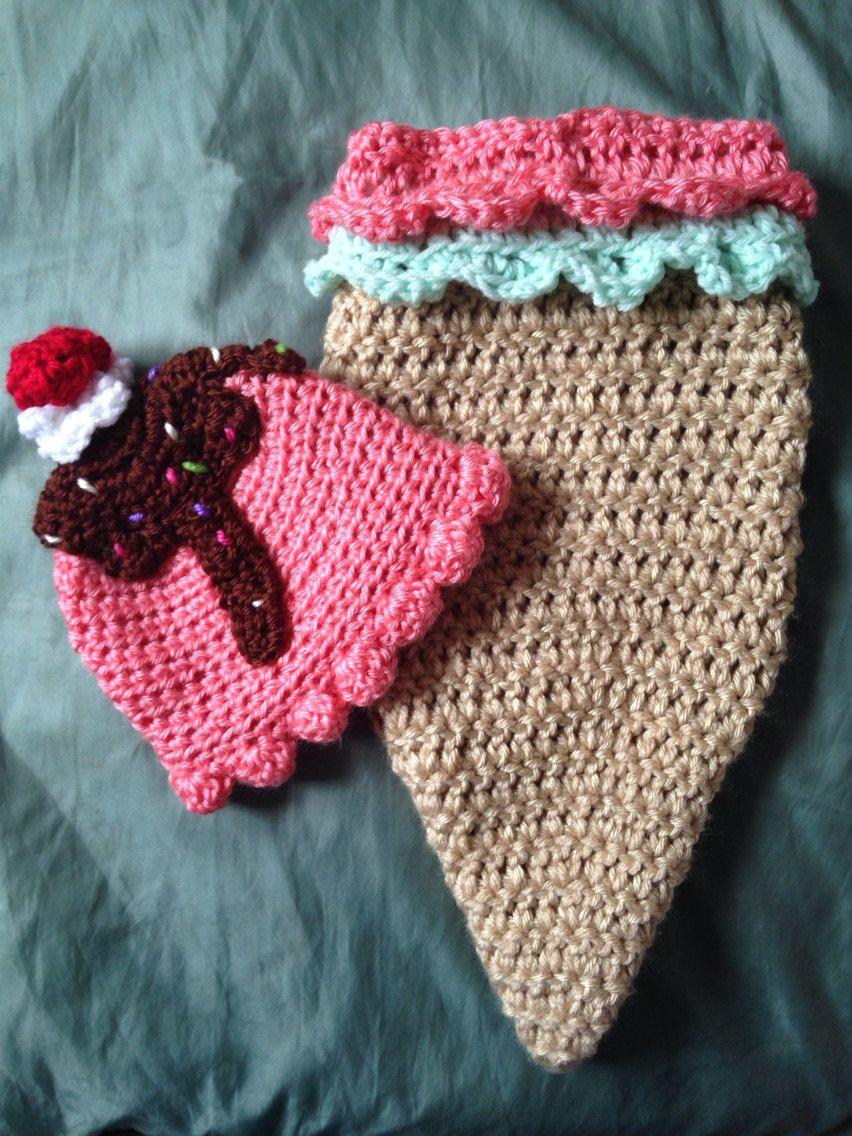 Sombrero de cono de helado de cocoon de bebé conjunto con | tejidos ...