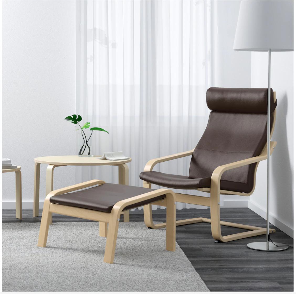 Poang Armchair Birch Veneer Robust Glose Dark Brown Ikea
