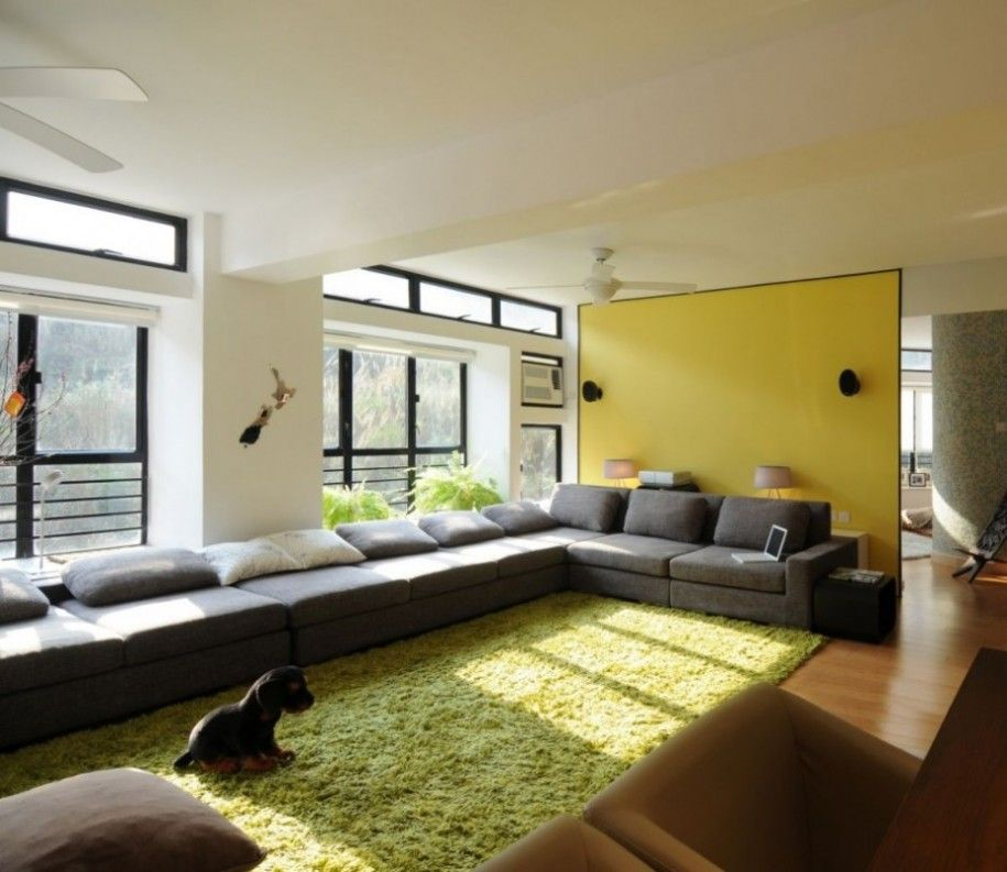 Green And Yellow Decor Theme For Apartment Living Room