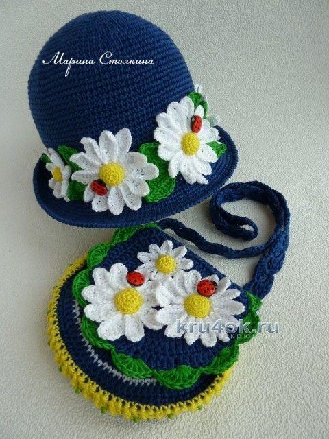 68fa0277c238 Шапочка и сумочка для девочки крючком - работа Марины Стоякиной вязание и  схемы вязания