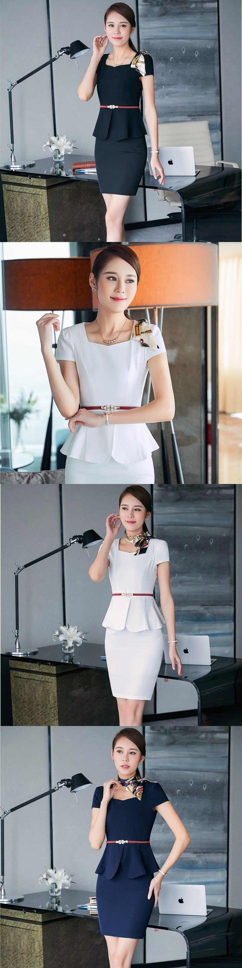 8a9b7a62d879 Summer Work Suits With 2 Pieces Tops And Skirt Professional Business Women  Ladies Blazers Outfits Plus