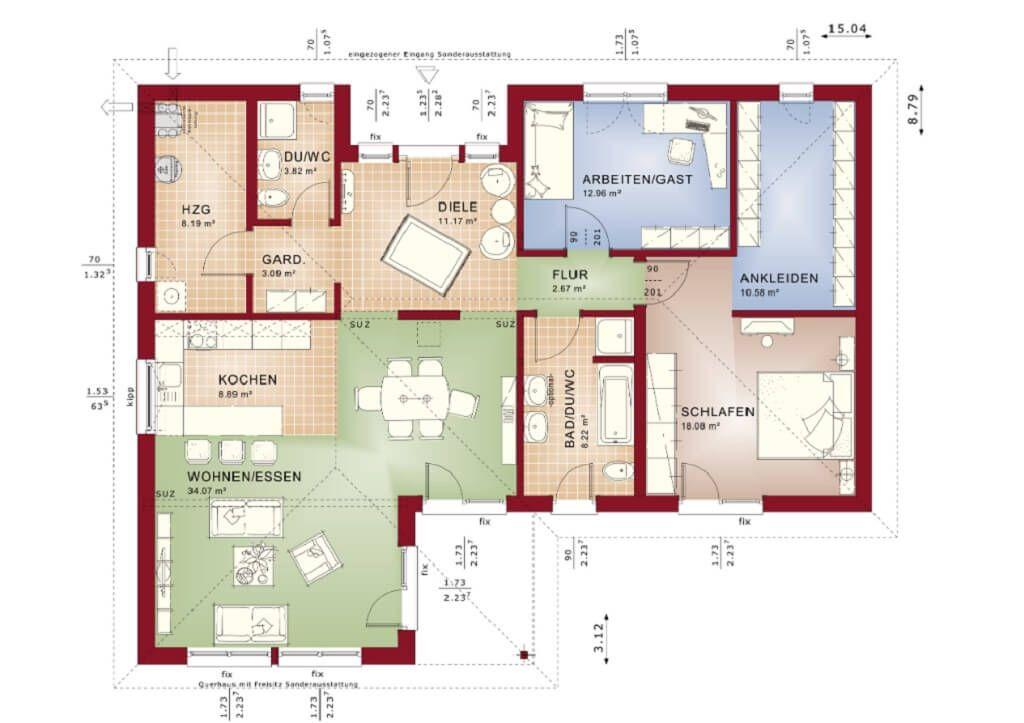 grundriss einfamilienhaus bungalow haus evolution 111 v3 bien zenker winkelbungalow. Black Bedroom Furniture Sets. Home Design Ideas