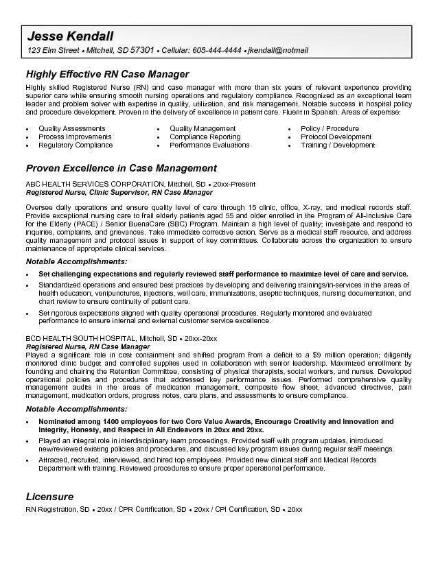 Oncology Nurse Resume Free -    wwwresumecareerinfo oncology - sample case manager resume