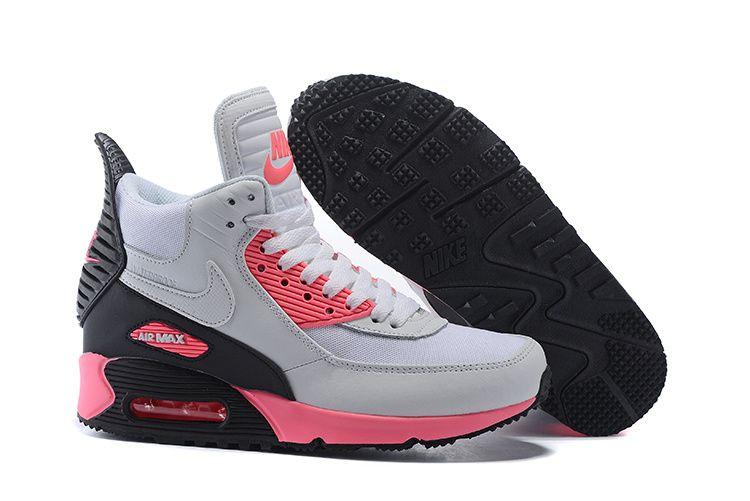 Femmes Nike Air Max 90 Sneakerboot Chaussures Blanc/Rose/Noir