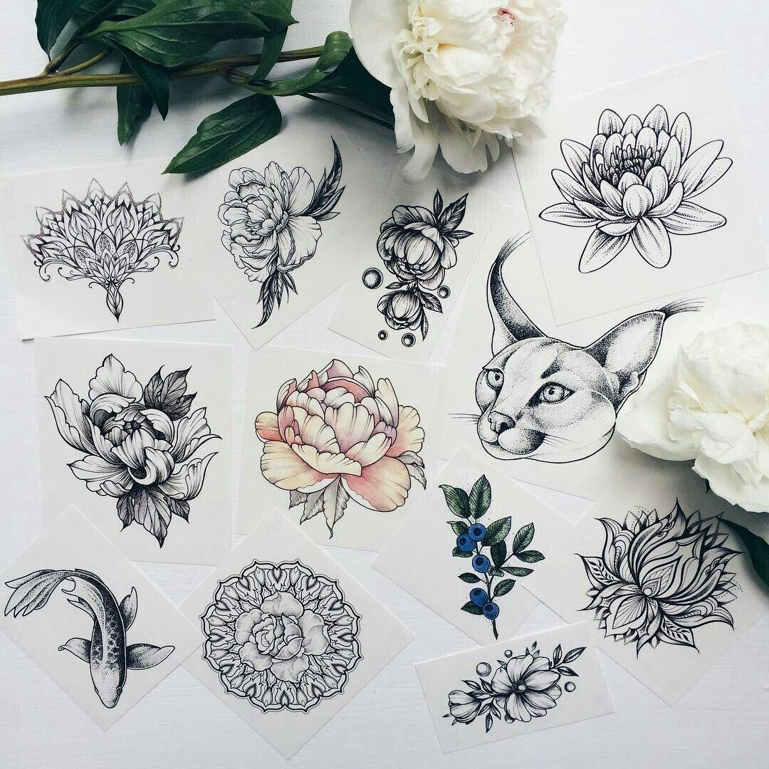 есть тату мини цветы эскизы фото при наличии