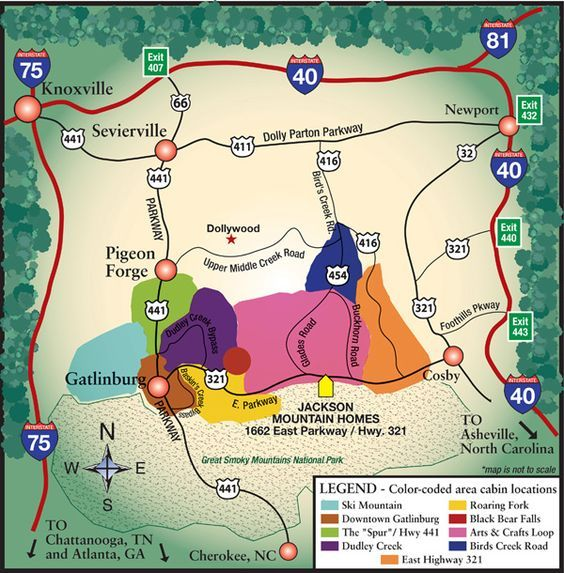 Regional map of the Great Smoky Mountains, Gatlinburg and Pigeon ...