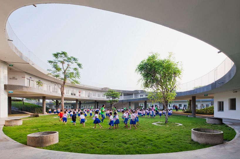 Farming Kindergarten In Vietnam By Vo Trong Nghia Architects School Architecture Education Architecture Farm Kindergarten