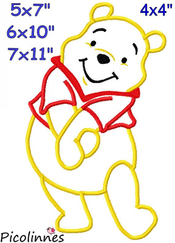 P00H Bear Applique Design Machine Embroidery Pattern 4x4 5x7 6x10 ...