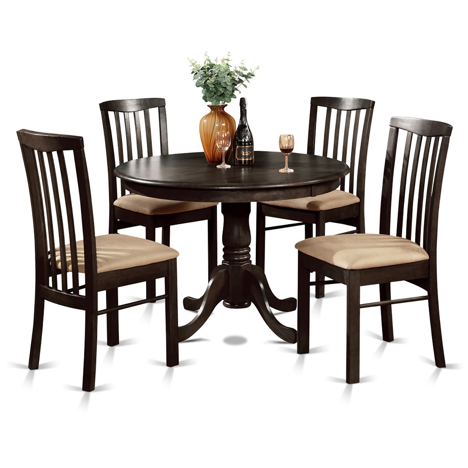 5-piece Dining Table Round Table And 4 Dining Chairs