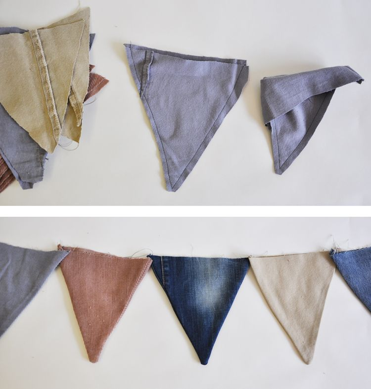 bunting - like the idea of a frayed denim bunting for a baby boy's room....or a girl's room....or stamped