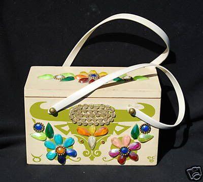 d6defad478ef Enid Collins zodiac Taurus wood box bag purse in green print with multi  colored gem trimmings.