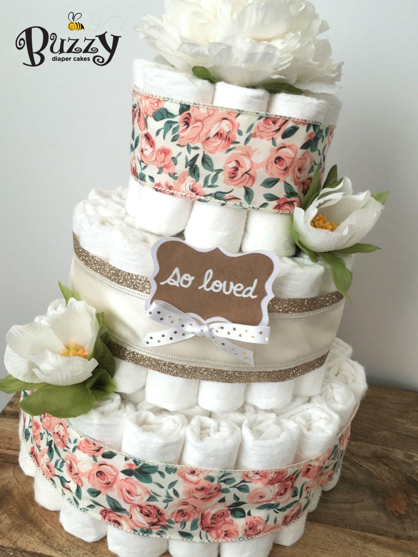 Boho Floral Diaper Cake, Shabby Chic Diaper Cakes for Girl, Shower Centerpiece Girl Diaper Cake by BuzzyDiaperCakes on Etsy https://www.etsy.com/listing/469248058/boho-floral-diaper-cake-shabby-chic