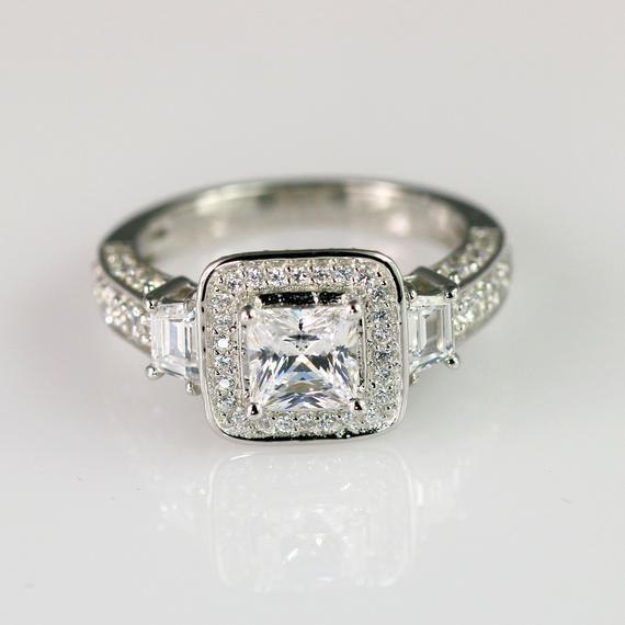 Halo Engagement Ring Princess Cut Engagement Ring 3 Stone Ring Wedding Ring Promoise Ring