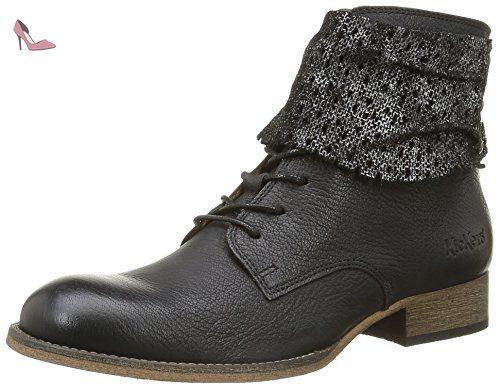 Kickers Lo Patent, Chaussures à lacets Femme, Noir (Black), 38 EU