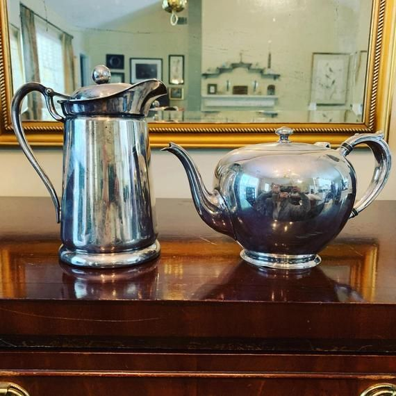 Silver Teapot and Silver Coffee Server, Vintage Poole Silver Co, International Silver Co