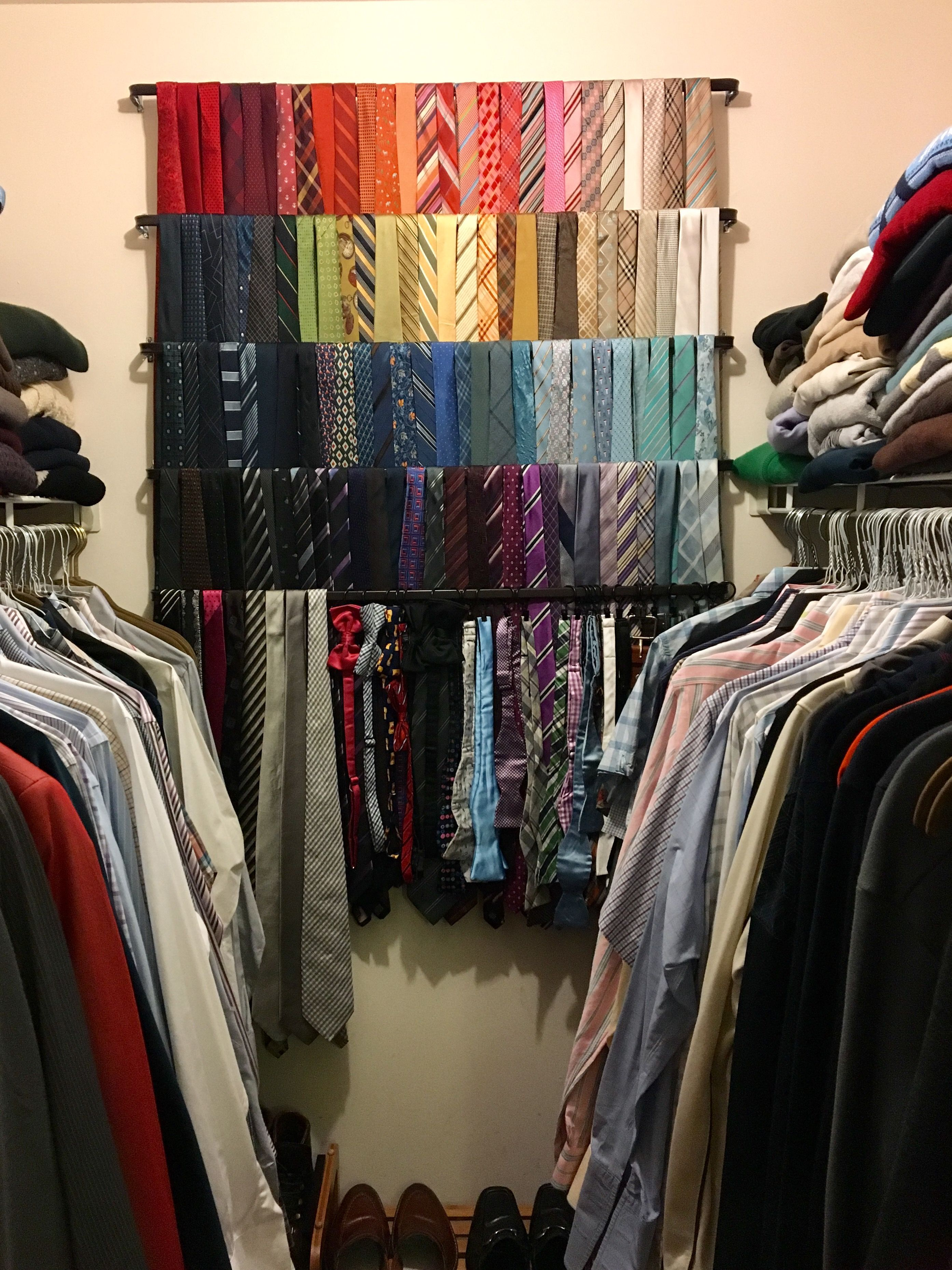 Great Solution For Mens Tie Storage And Closet Organizing Curtain Rods