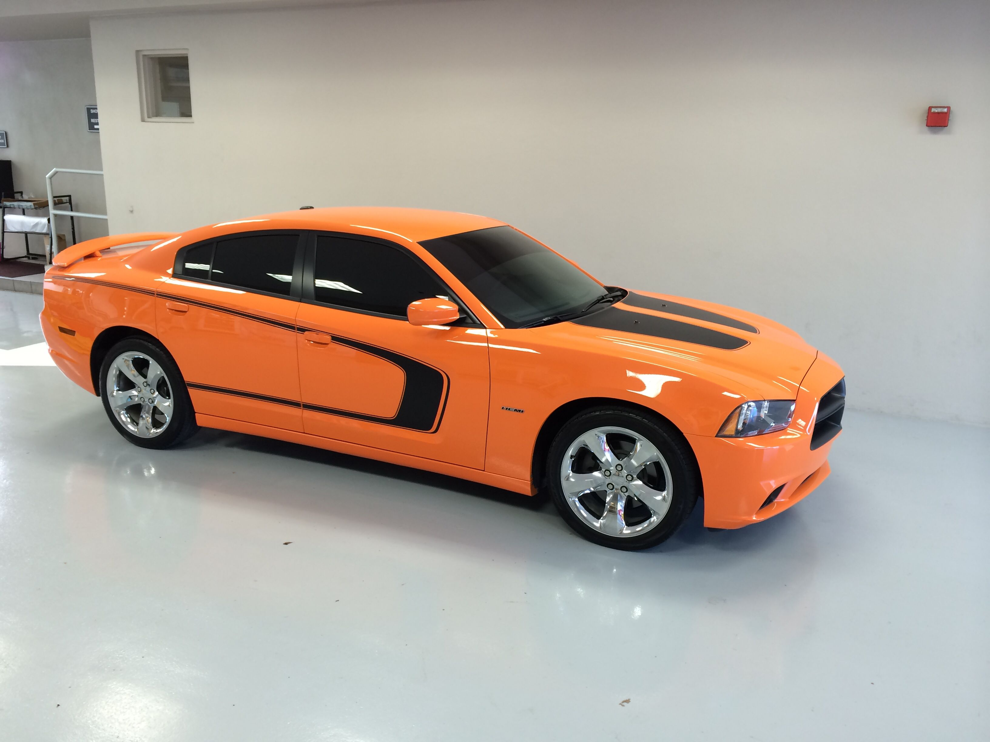 My charger all finished with new pin striping hot orange 2014 dodge charger rt hemi