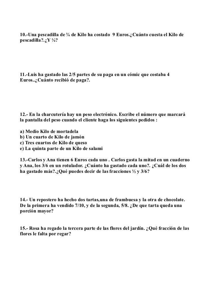 Problemas De Matematicas Decimales Y Fracciones 6º De Primaria Problemas Matemáticos Matematicas Fracciones