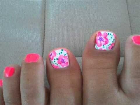 Flower toe nail designs - Flower Toe Nail Designs Nails Pinterest Toe Nail Designs