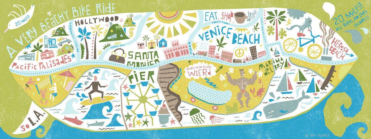 Httpwwwtheydrawandtravelcommapsbikethebeachinlos - Los angeles map venice beach
