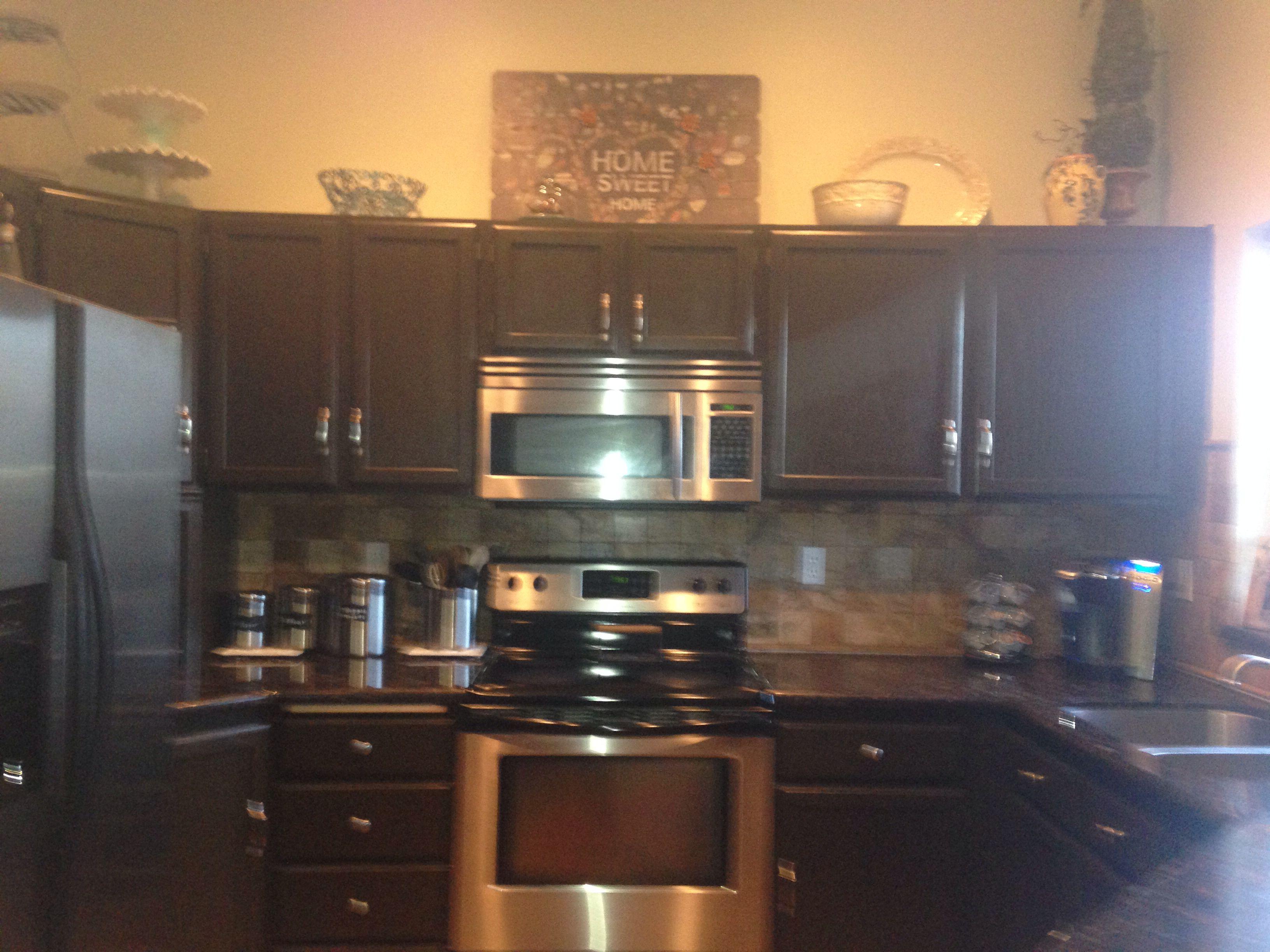 Painted kitchen cabinets. Behr espresso bean satin finish ...