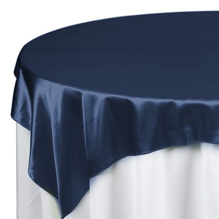60 X Satin Navy Blue Table Topper Overlay Overlays And