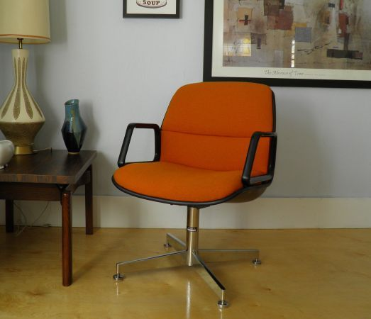 All Steel Office Chair With Orange Woven Fabric And Black Shell