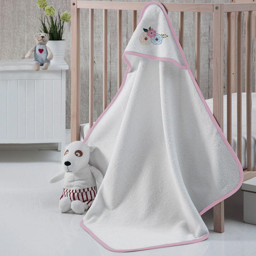 منشفة إستحمام أطفال بقبعة أبيض و زهري 75 75 سم Throw Blanket Baby Towel Blanket