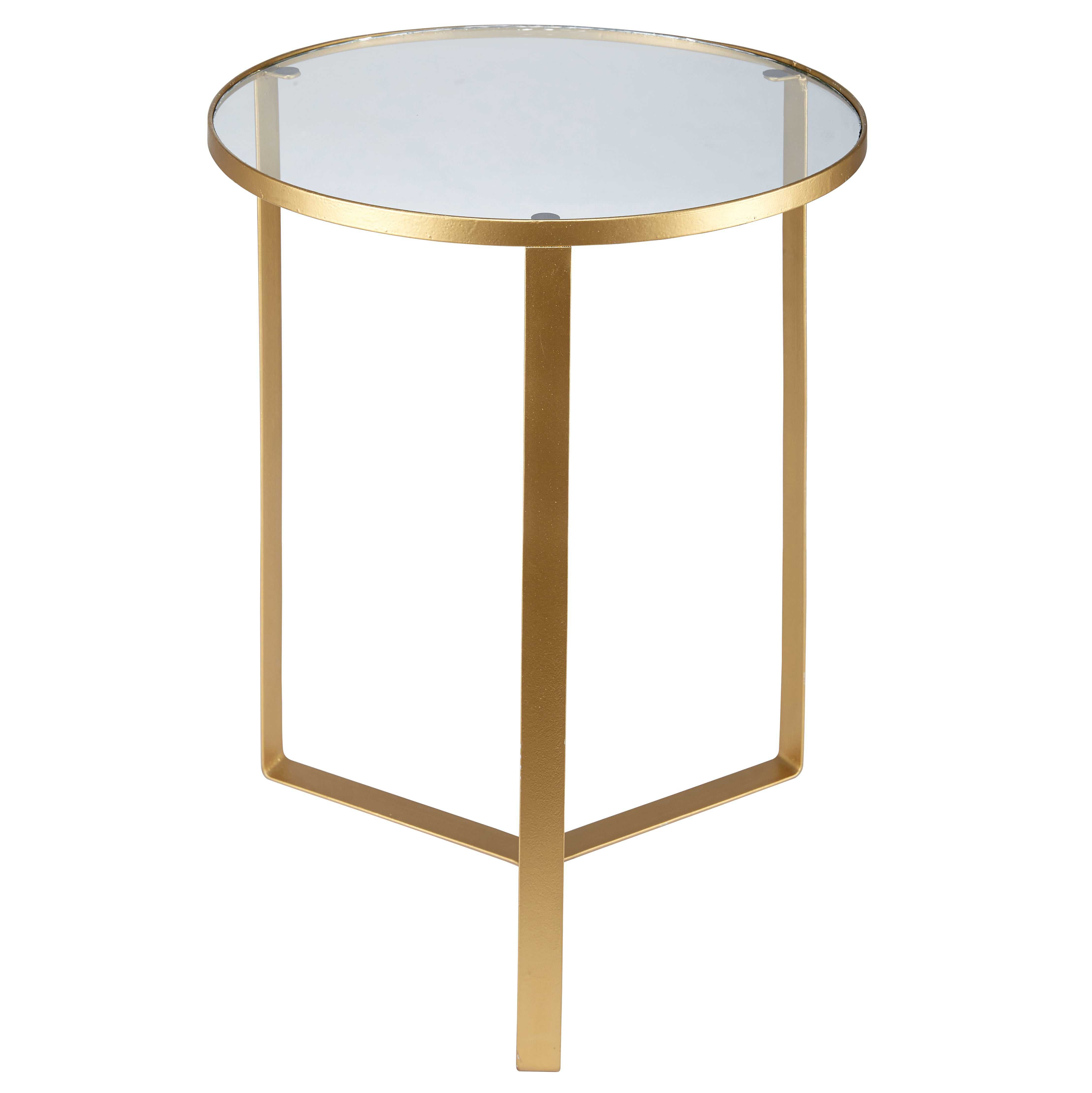 Olivia Gl And Gold Metal Side Table