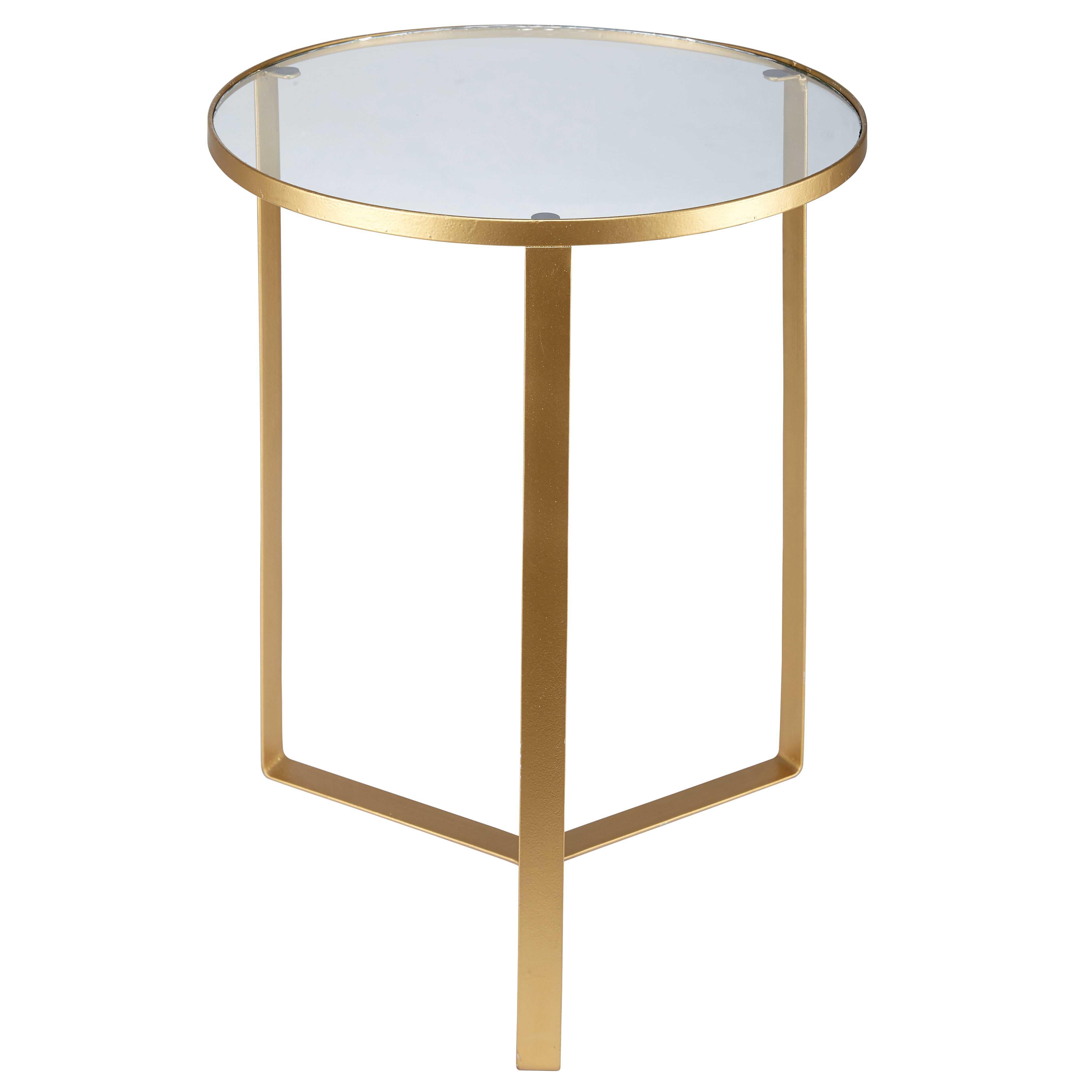 Mesa auxiliar de cristal y metal dorado OLIVIA | Maisons du Monde ...