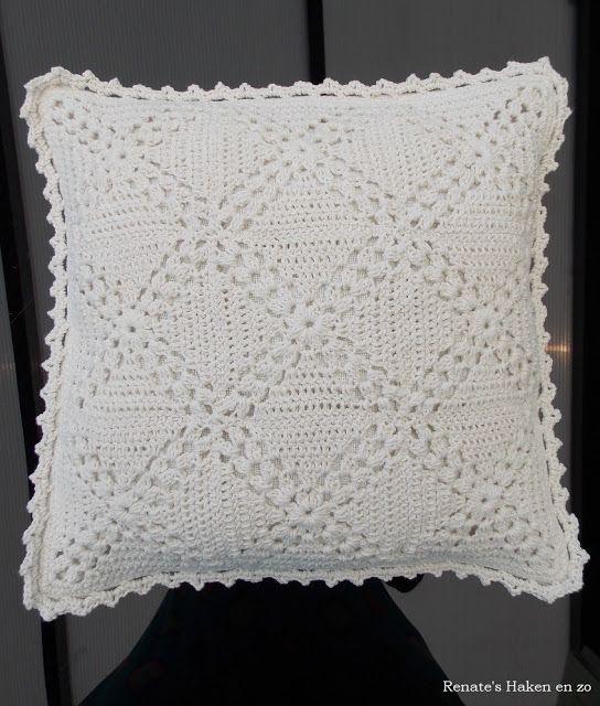 Off White Kussen Renates Haken En Zo Pillow Crochet Crochet