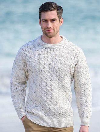 Mens Heavyweight Traditional Aran Wool Sweater White Fleck