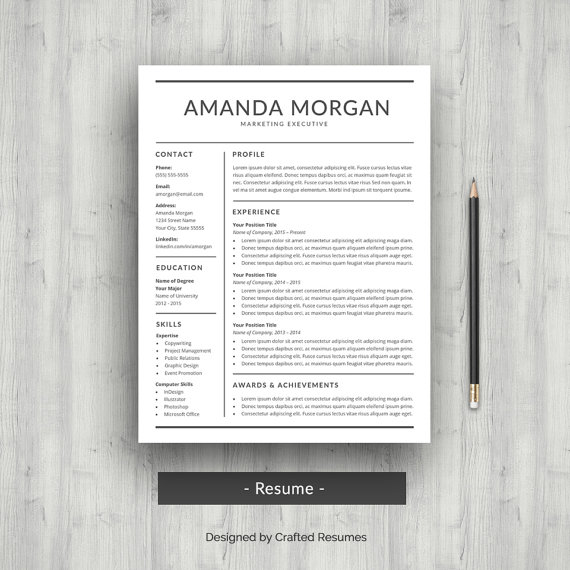 Resume Template CV Template for Word Professional Resume Design - sample application cover letter template
