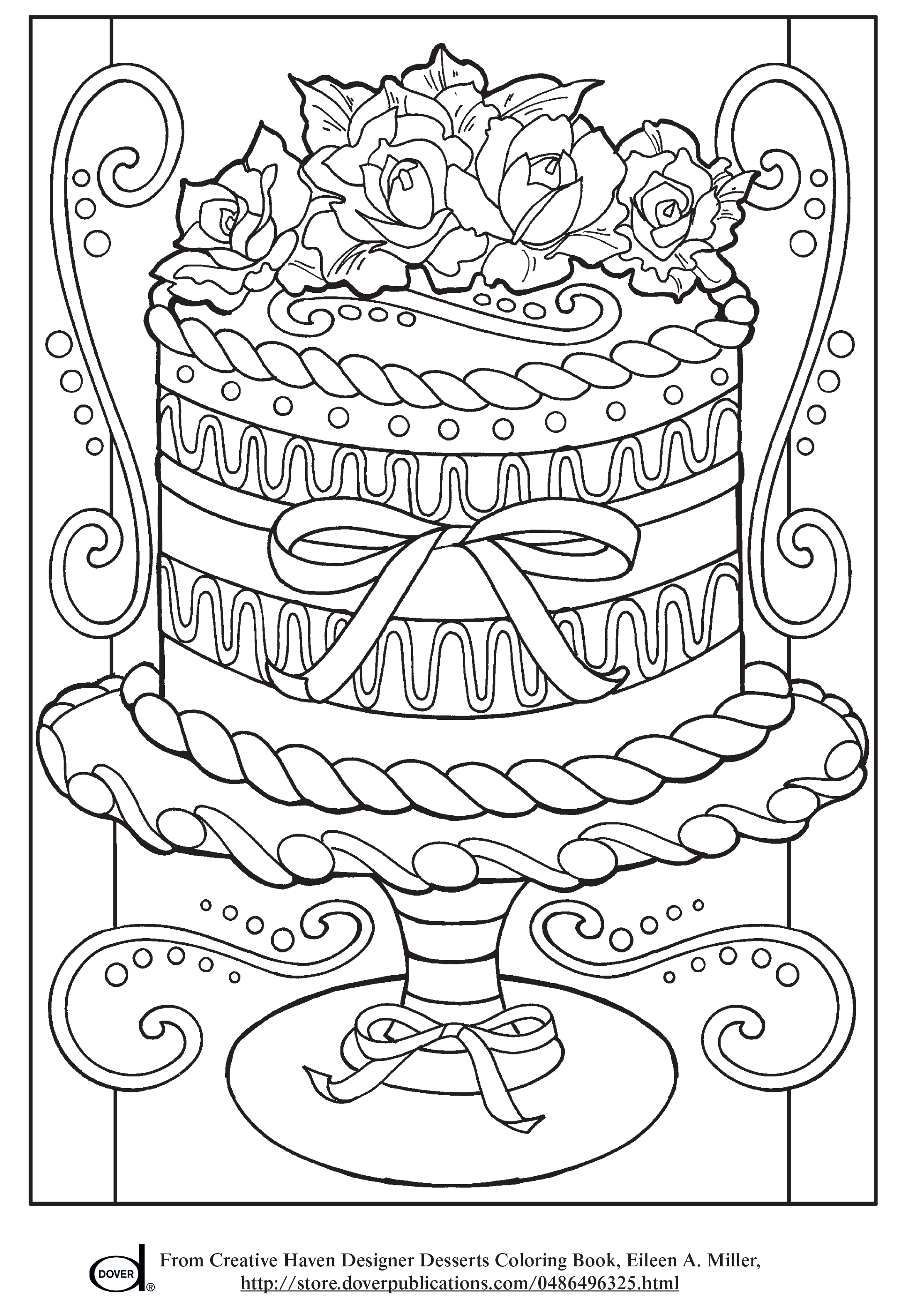 Free Printable Adult Coloring Pages - Wedding Cake | Colouring Book ...