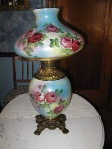 Amazing Antique Fostoria Roses Gone With The Wind Lamp