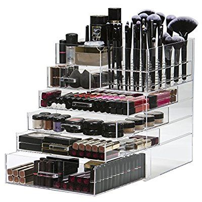 Large 6 Tier Acrylic Makeup Organiser Storage Cube Clear | Cosmetic Organiser 5 Drawer & Removable 60 Piece Makeup Brush Holder | By Organised Beauty