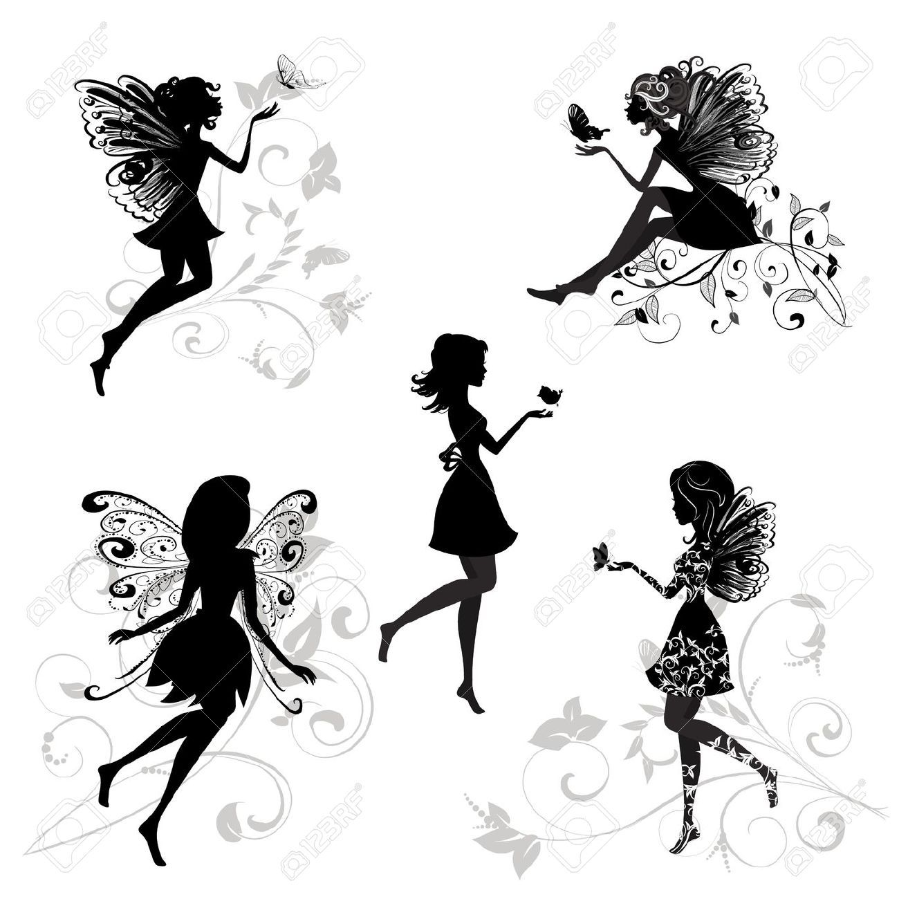 Royalty free fairy. Silhouette stock illustrations cliparts