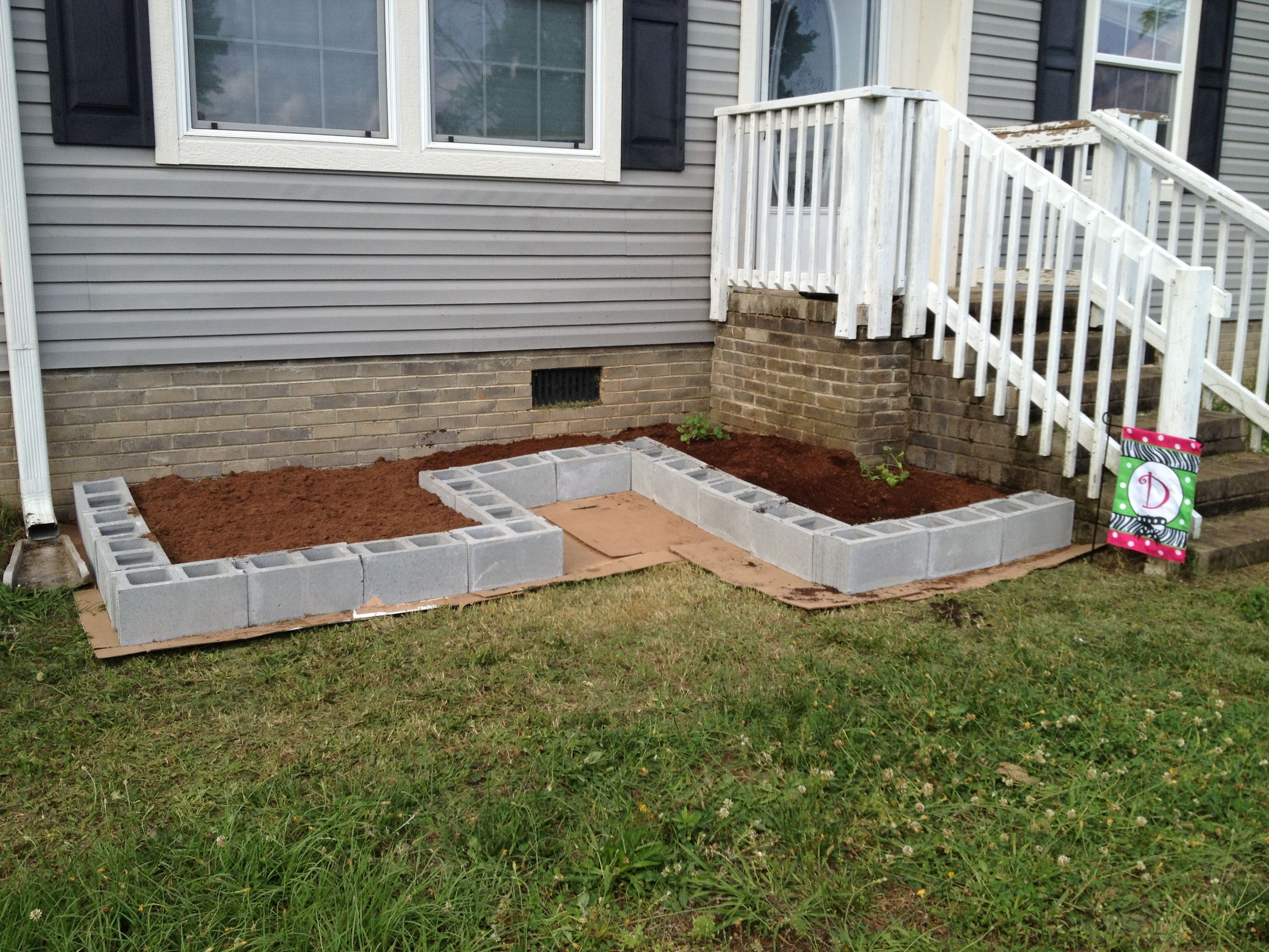 concrete block raised garden - Google Search | Flower bed ...
