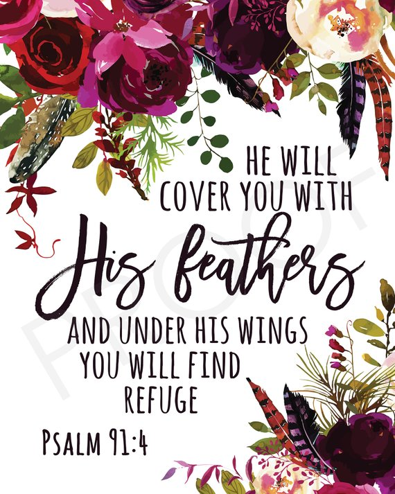 Scripture Art Psalm 91 4 Watercolor Flowers Watercolor Feathers