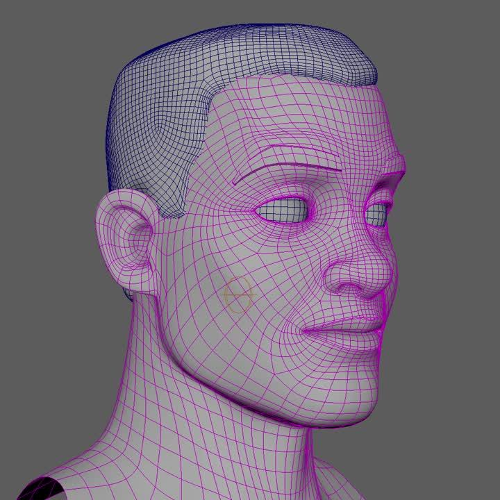 More progress on this fellow: eyebrows and jaw. Still basic deformers (no combos), but I get really picky with weight values and vertex positions. I…